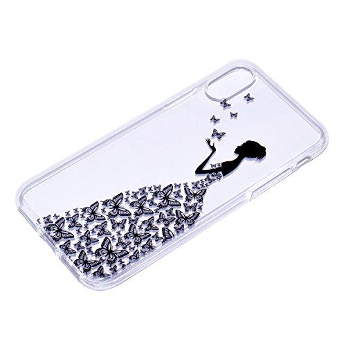 iPhone X Hülle , Leiai Modisch Schmetterlings mädchen TPU Transparent Clear Weich Tasche Schutzhülle Silikon Handyhülle Stoßdämpfende Schale Fall Case Shell für Apple iPhone X
