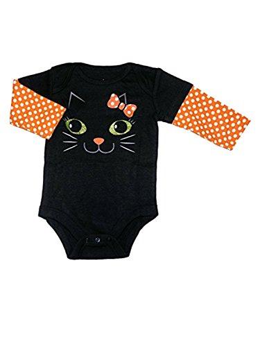 Assorted Witch, Pumpkin, Cat Boys' & Girls' Halloween Bodysuit Dress Up Outfit (Newborn, Black Kitty Cat)