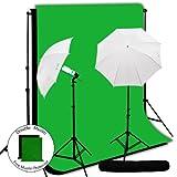 LimoStudio Photo Lighting Light Kit, 10 x 10 ft. Black Green ChromaKey Muslin Backdrop, Studio 33'' Umbrella Continuous Lighting Kit, AGG252