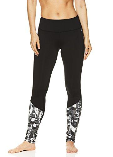 Nicole Miller Active Women's Flekka Printed Leggings - Performance Activewear Workout Pants - Summit Black, Medium