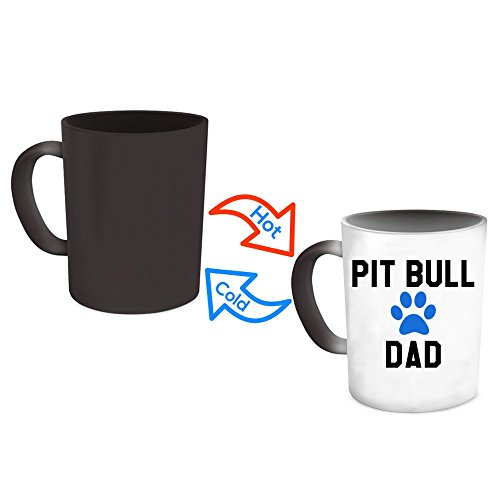 Pit Bull Dad Mug - Magical Color Changing Heat Sensitive Coffee Cup For Pet Staffordshire Terrier Dog Lovers - Cool Unique Novelty Christmas Pittie Gift For Men - Animal Quote Statement Accessories (Keychain Watch Terrier)