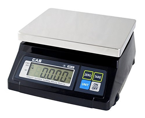 CAS SW-RS (10LB) SW-1RS Series POS Interface Portion Control Scale, 10 Lbs Capacity, Stainless Steel Platter, Soft Touch Tactile Keyboard, Lb/g/kg/oz Switchable, Easy to Read 1 Inch LCD Display