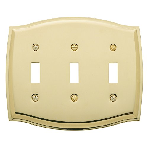 Baldwin Estate 4780.030.CD Colonial Triple Toggle Wall Plate in Polished Brass, 5.3