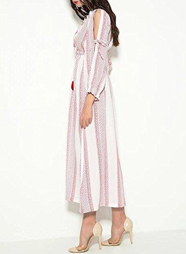 ACHICGIRL Mujer Maxi Vestido Boho Mangas Largas Fuera de Hombro Rosa