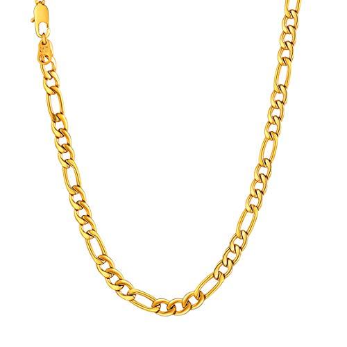 Men Women 18 Karat Gold Plated 5MM Wide Figaro Chain Necklace 22-Inch (Figaro Gold Plated Chain)