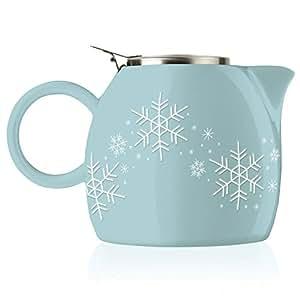 Tea Forte PUGG 24oz Ceramic Teapot with Tea Infuser, Snowflake