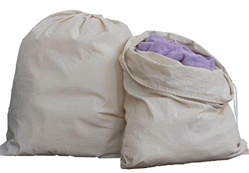HomeLabels Cotton Laundry Bag - 2 Pack, Natural, 30x 40 - Commercial Grade 100% Cotton, Designed Heavy Duty Use, College Laundry Bags, Laundromat Household Storage