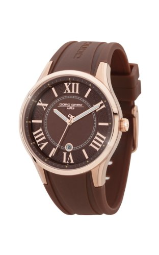 Jorg Gray JG1200-13 Chocolate Rose Gold Rubber Patterned 3 Hand Womens Watch