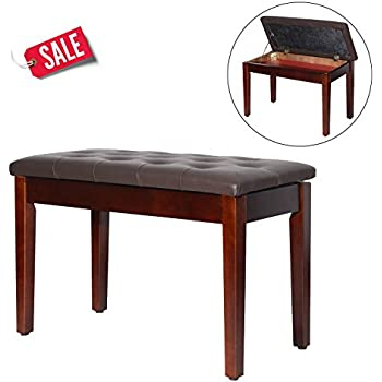 Amazon Com Piano Bench 2 Person Leather Brown Double Seat With