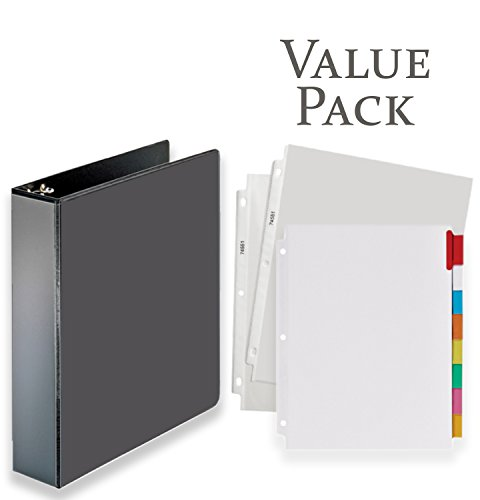 3-Ring Binder, Presentation View Binders - with 20 Top-Loading Poly Clear Sheet Protectors - and Big Tab Insertable Extra Wide Dividers, 8 Multi-Color Tabs - Value Pack (2 Inch, Black) ()