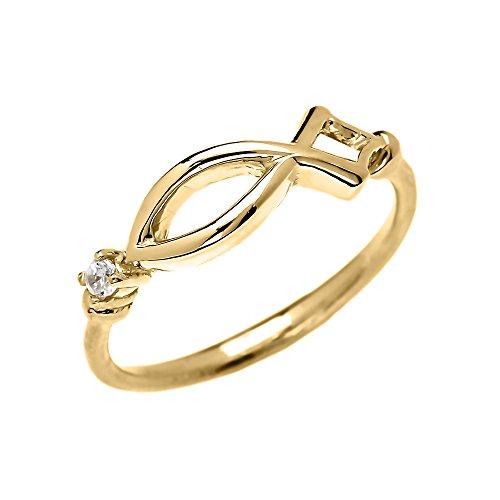 Bague Femme Chrétien Symbole Ichtus Diamant 10 Ct Or Jaune