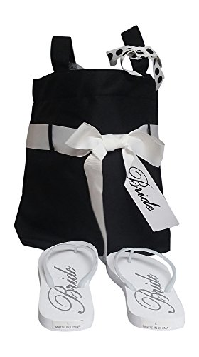 Wedding Day Bridal Tote Bag with Matching Flip Flops [size 9-10] by FUN Wedding