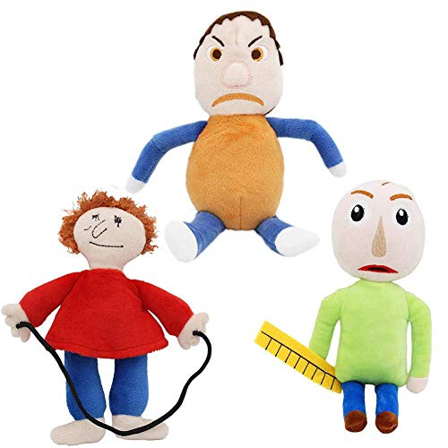 Ameshop Set of 3 Baldi's Basics in Education and Learning Plush Figure Stuffed Toy - Baldi / Playtime / Bully