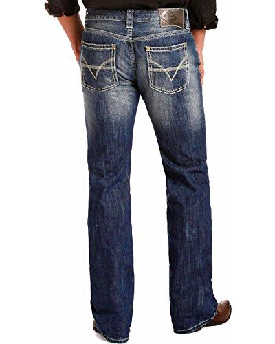 Rock & Roll Cowboy Mens Denim Blue Pistol V Running Stitch Jeans - M1p4432