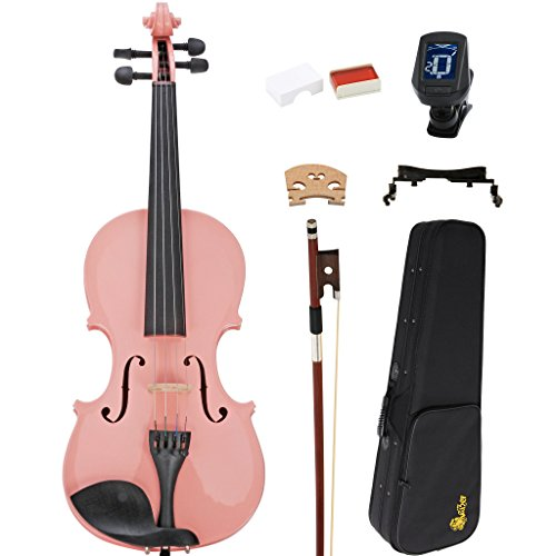 Kaizer Violin Acoustic Full Size 4/4 Pink Varnished Includes Case Bow Tuner and Accessories VLN-1000PK-4/4-TNR by Kaizer