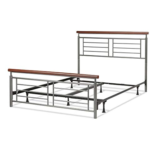 Leggett & Platt Fontane Complete Metal Bed and Steel Support Frame with Geometric Grills and Rounded Cherry Wood Color Top Rails, Silver Finish, Queen