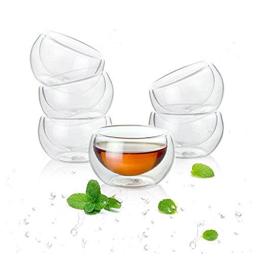Luxtea Double-walled Borosilicate Teacup Glass Heat-resisting Tea Cup Hold 2 Oz, Set of 6