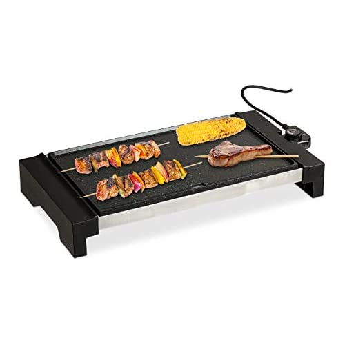 chollos oferta descuentos barato Relaxdays Plancha Cocina Amplia Superficie Grill Eléctrico 1500 W Parrilla para Asar Aluminio 42 x 27 cm Negro