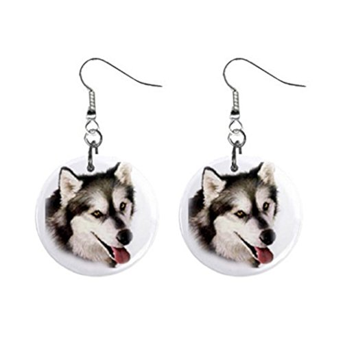 (Alaskan Husky Malamute Dog pet lover Jewelry Button Earrings)