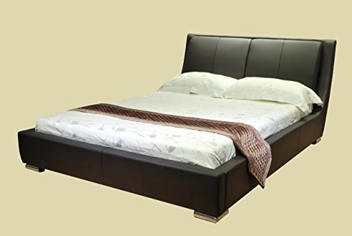 GREATIME B1088 Platform Bed with Padded Headboard & Euro Slats, California King, Dark Brown