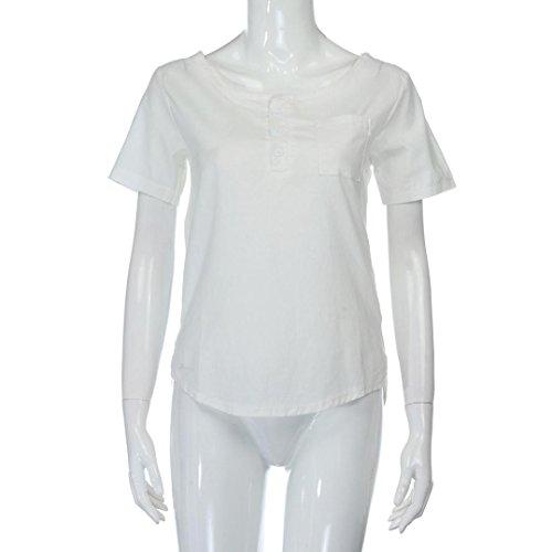 Soiree Femme Manche Courte Lache Vetement Casual HUI Haut t Taille Bustier Femme Shirt Blouse Pas Femme Haut Printemps Tops HUI Cher Femmes Blanc Bouton Chic Grande BwAxzq6q