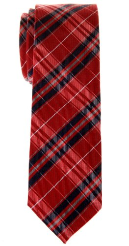 (Retreez Stylish Plaid Checkered Woven Microfiber Skinny Tie - Red and Navy Blue)