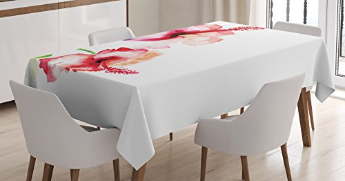 Watercolor Flower Decor Tablecloth by Ambesonne, Hibiscus Fl