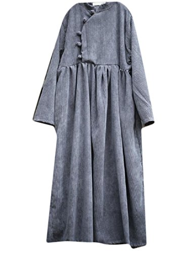 Confortables Femmes Boucle Chaud Velours Côtelé Style Vintage Chinois Gris Robe Tout Match