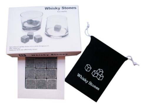 Set of 9 Sipping Stones Whisky Chilling Rocks in Gift Box with Velvet Carrying Pouch