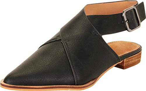 Cambridge Select Women's Pointed Toe Crisscross Strappy Slingback Low Heel Mule,7 B(M) US,Black PU
