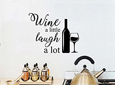 Wine a little laugh a lot love wall mural sticker art kitchen decor saying lettering stencil wall accents