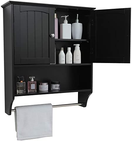 Iwell Wall Bathroom Cabinet with 1 Adjustable Shelf Towels Bar, Over The Toilet Space Saver Storage Cabinet, Medicine Cabinet with 2 Doors, Cupboard Black YSG005H