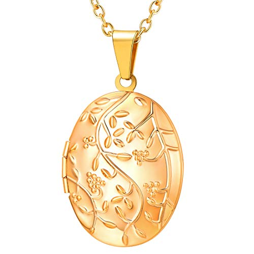 U7 Locket Necklace That Holds Picture Oval/Round Shaped Flower Pattern Photo Lockets Pendant for Women Girls, Chain 22 Inch (E. Gold Oval Flowering)