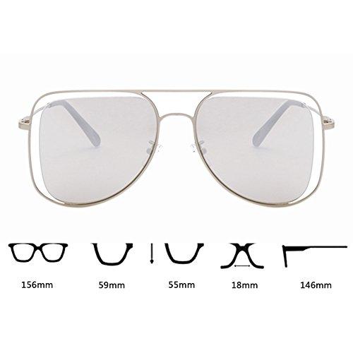 sol metal de hueco Gafas de Plata de de Diseño conducción de dobles de gran Gafas UV400 Plata de puente tamaño aviador Protección Hzjundasi Gafas qEtIRR