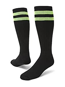 Red Lion Old School Classic Two Stripe Athletic Socks ( Black / Neon Green - Small )