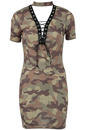 Ladies Raw Power Camo Print Lace & Eyelet T-shirt Dress US Size 4-12 (M/L (US 10-12), Khaki) (Tee Power Raw The)