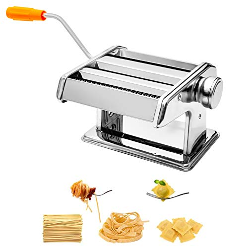 (Pasta Maker, Roller Stainless Steel Pasta Noodle Maker Machine – 6 Adjustable Thickness Settings)
