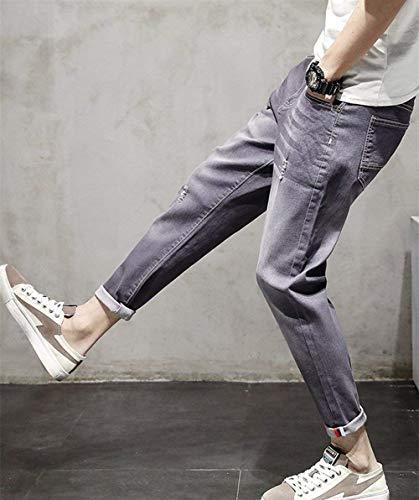Elasticizzati Strappati Stile Jeans Slim Denim Cool Pantaloni Uomo Da Semplice Dritti Fit Tlich Grau pwf5xRvqZ