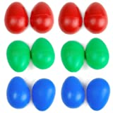 12 x Plastic Egg Maracas Shakers Musical Percussion---Blue+Red+Green