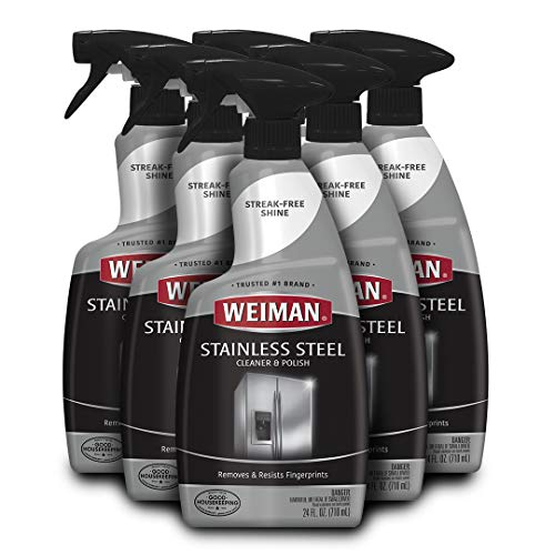 Weiman Stainless Steel Cleaner and Polish - 22 Ounce (6 Pack) - Protects Appliances from Fingerprints and Leaves a Streak-Free Shine for Refrigerator Dishwasher Oven Grill etc