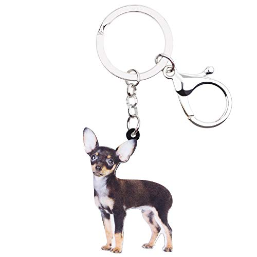 WEVENI Acrylic Cute Standing Chihuahua Dog Key Chains Rings Animal Jewelry For Women Girls Handbag Charms Keychain Accessory (Multicoloured) ()