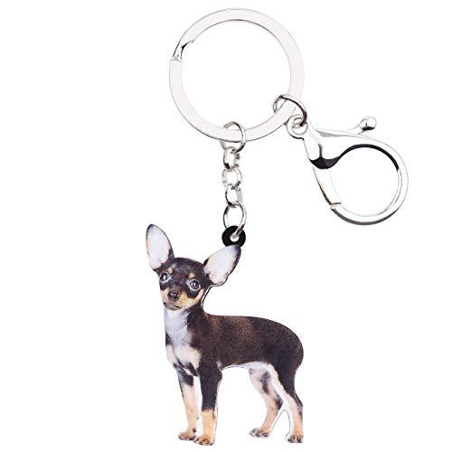 Chihuahua Keychain - WEVENI Acrylic Cute Standing Chihuahua Dog Key Chains Rings Animal Jewelry For Women Girls Handbag Charms Keychain Accessory (Multicoloured)