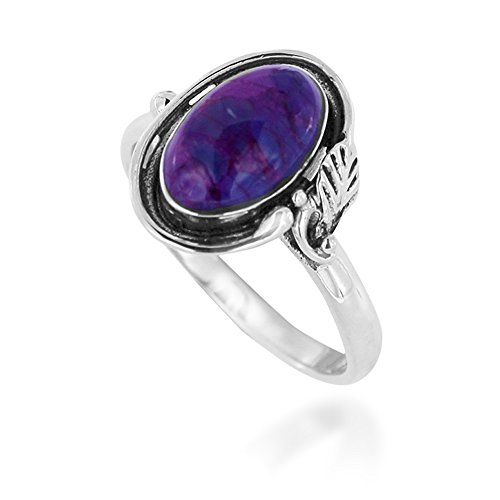 925 Oxidized Sterling Silver Purple Turquoise Gemstone Oval Leaf Ring, Size (Oval Leaf Ring)