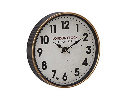 Deco 79 52584 Wall Clock, White/Oak Brown/Black/Red/Brass