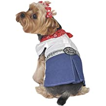 Max's Closet Bandana Dog Dress, Medium, Red/Denim