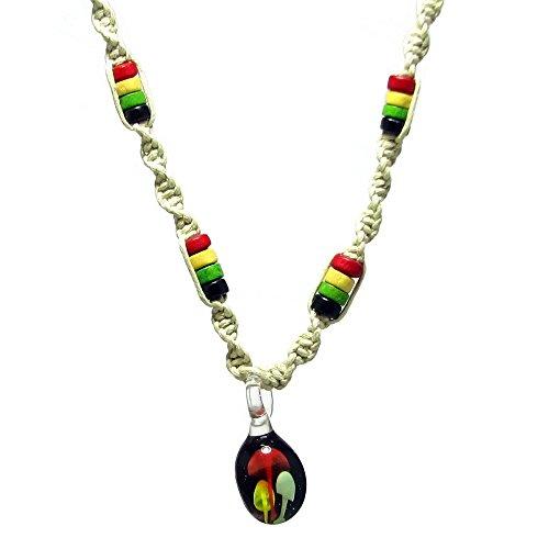 Magic-Mushroom-Glass-Pendant-Rasta-Wood-Beads-3d-Shroom-Twisted-Hemp-Choker-Necklace