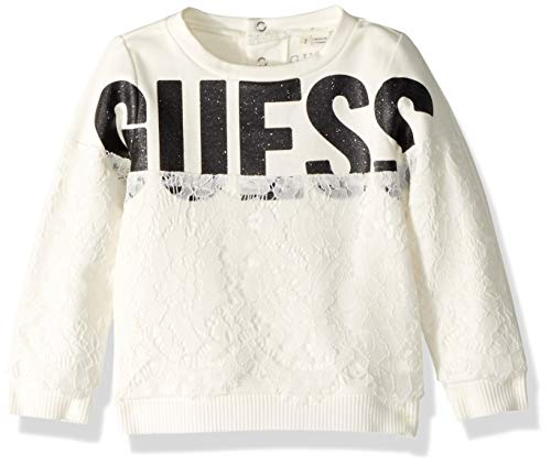 Guess Girls' Little Emma Crewneck Lace Applique Long Sleeve Fleece Pullover, White Clay, 6X/7 -