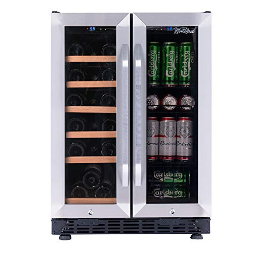 Great Features Of Worthyeah Wine and Beverage Cooler Dual Zone Built-in or Freestanding 24 Inch Side...