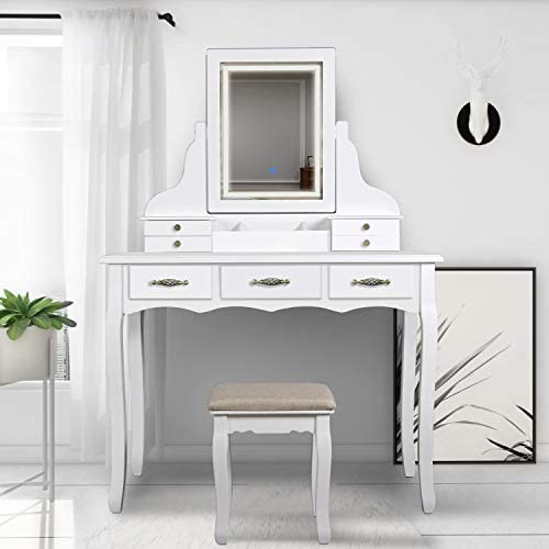 SCYL Color Your Life Vanity Table Set with Lighted LED Mirror,7 Drawers Makeup Dressing Table with Cushioned Stool,Easy Assembly White