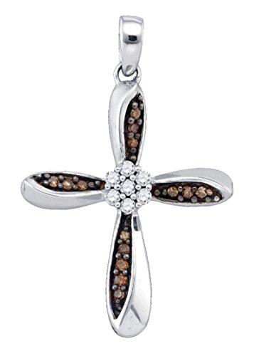 (Brandy Diamond Chocolate Brown Silver Cross Necklace Pendant 1/4 Ctw.)